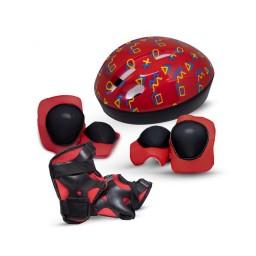 Kit Proteção e Capacete Infantil Rava Vermelho